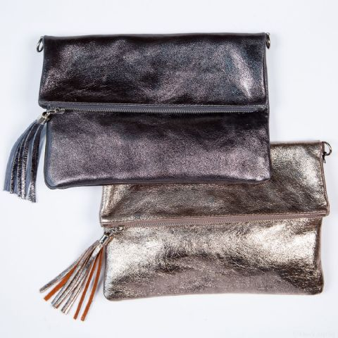 PEWTER FLAPOVER BAG
